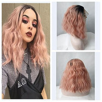 Ombre Dark Pink Short Bob Curly Style Synthetic Lace Front Wig Dark Roots Full Hair Lace Front Wigs For Women