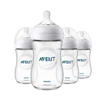Philips Avent Natural Baby Bottle, Clear, 9oz, 4pk, SCF013/47