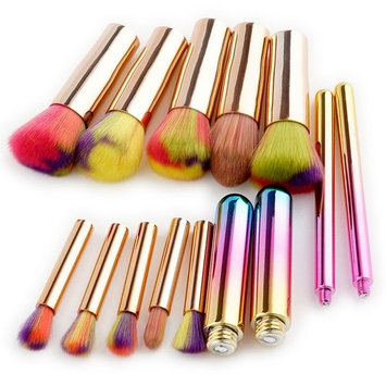 AprFairy 10pcs Makeup Brush Set Soft Rainbow Bristles Premium Assembled Plastic Handle Brushes Kit Professional Kabuki Make Up Foundation Cosmetic Beauty Tools - Rose G