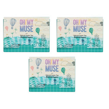 [Oh!My Muse] Natural Green Tea Oil Absorbing Sheets, Blotting Paper, 50 count (3 Packs) : Beauty