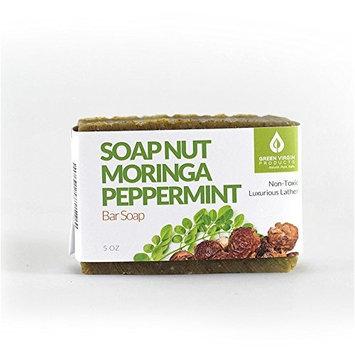 Soap Nut, Moringa, Peppermint, Bar Soap, Green Virgin Products