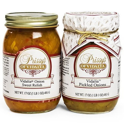 Prissy's of Vidalia Sweet Onion Relish & Pickled Onion (COMBO Pack), 16 Oz, Fat FREE, ALL Natural, No Preservative,