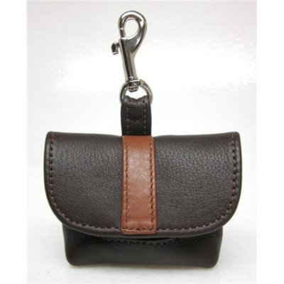 Around the Collar 1033BRNLUG9 Genuine Leather Poop Bag Holder with Leather Stripe on Flap