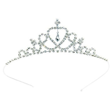 Simplicity Girl's Wedding Party Crown w/ Colorful Crystal Rhinestones Silver