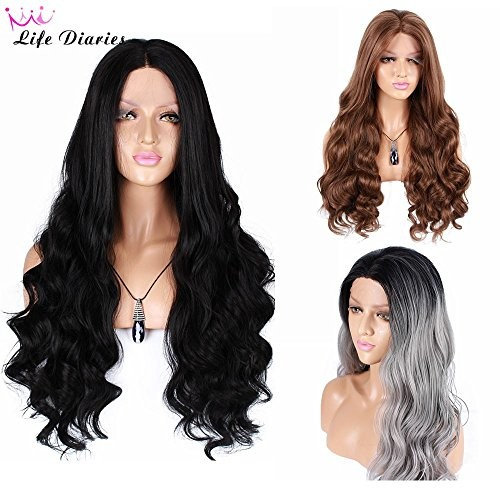 """Life Diaries 250%Density Fashion Long Body Wave 10%Human Hair+90%Heat Resistant Fiber Glueless Lace Front Synthetic Wig For Women(26"""",Black)"""
