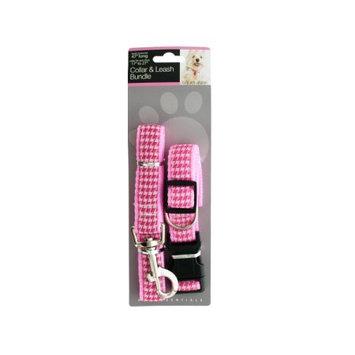 Sunrise Pink Houndstooth Collar Leash Bundle Set