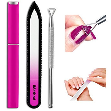 Glass Nail File with Cuticle Pusher - iMethod Genuine Czech Crystal Nail File with Case, Stainless Steel Professional Triangle Cuticle Pusher for Removing Gel Polish Easily, Lovely Pink