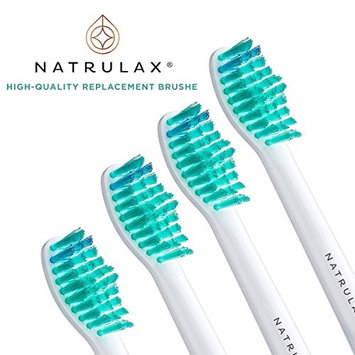 NATRULAX® Replacement Toothbrush Heads for Sensitive Teeth - Removes 2X More Plaque for Whiter, Cleaner & Healthier Teeth. High Quality, Gentle, & Effective. Philips Sonicare Compatible (4 Pack)