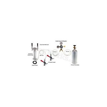 Kegworks Double Tap Tower Refrigerator Conversion Kit (Stainless Steel Tower w/ 5 lb CO2 Tank)
