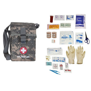 Ultimate Arms Gear Military Platoon Leader's First Aid Kit Cover Pouch, ACU Army Digital Camo Camouflage + First Aid Trauma Fully Stocked Kit Contents Come In Polybag, USA MADE