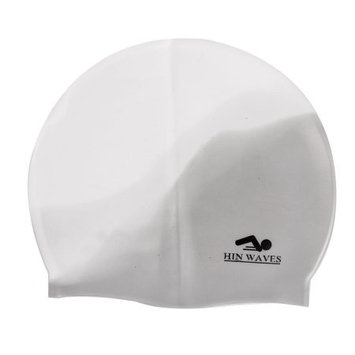 White Gray Soft Silicone Underwater Sports Stretchy Head Band Swimming Cap
