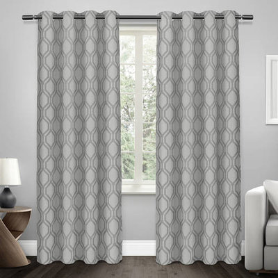 Exclusive Home Domino Heavyweight Jacquard Linen Blackout Window Curtain Panel Pair with Grommet Top