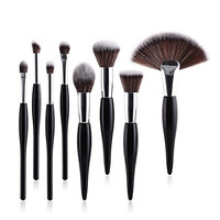 Kasla 8Pcs Makeup Brush Sets Cosmetic Brush Kabuki Foundation Powder Blush Cream Highlight Blend Eyebrow Eye shadow Fan Makeup Brushes