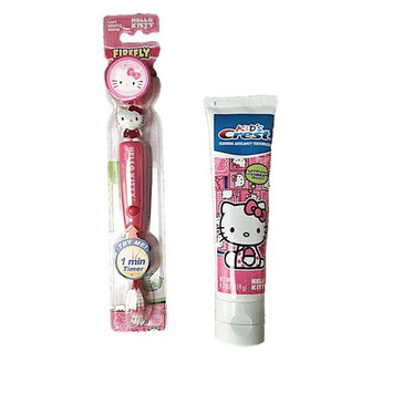 Hello Kitty Light up Toothbrush and Timer with Crest Hello Kitty Bubble Gum Flavored Toothpaste