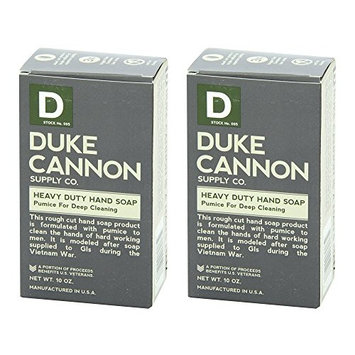 Duke Cannon Heavy Duty Hand Soap (Pack of 2) with All Natural Tallow Soap Base, Pumice, Citrus Essence, Water and Sodium Cocoate, Manufactured in the USA, 10 oz.