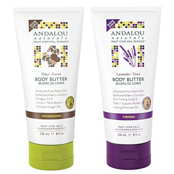 Andalou Naturals Kukui Cocoa Body Butter and Andalou Naturals Lavender Shea Body Butter Bundle With Moroccan Argan Oil and Evening Primrose Oil, 8 fl. oz. 236 ml each