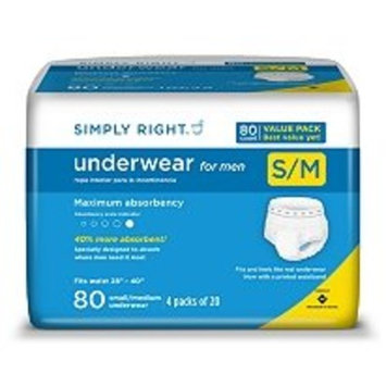 Simply Right Men's Maximum Absorbency Protective Underwear - Small/medium - 80 Ct.