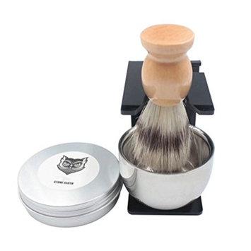 4pcs Shaving Gift Set Razor Shaving Brush,Bowl,Stand Holder,Brush soap Set,Pure Badger Hair Shaving Brush Handmade. Real Wood Base