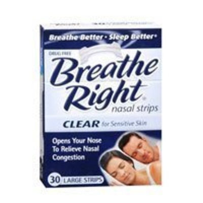 Breathe Right Nasal Strips, Large, Clear, for Sensitive Skin 30 strips Personal Healthcare / Health Care