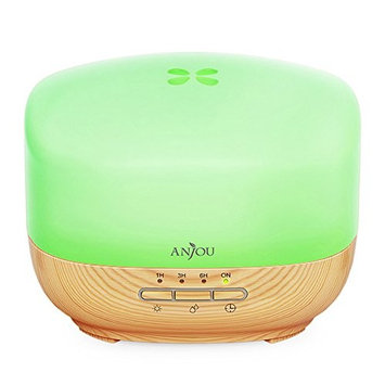 Aromatherapy Diffuser 500ml Anjou Ultrasonic Essential Oil Diffuser Cool Mist Humidifier (Woody Grain, 7-Color LED Mood Light, Low-Water Protection, Auto Shut-off, Up to 14Hrs, BPA-free)
