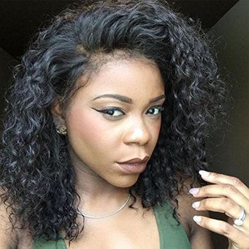 Vanessa Queen Black Curly Lace Front Wigs Natural Hairline Full Lace Human Hair Wig Short Bob Hair Wigs 130 Density(12inch lace front wig)