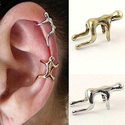 HuntGold 1X Unisex Earring Climbing Man Type No Piercing Cartilage Clip Ear Cuff(Bronze)