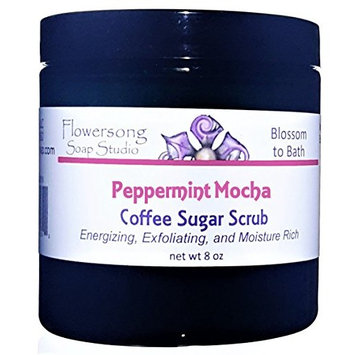 Flowersong Peppermint Mocha Latte Coffee Sugar Scrub - Energizing, Exfoliating, and Moisture Rich