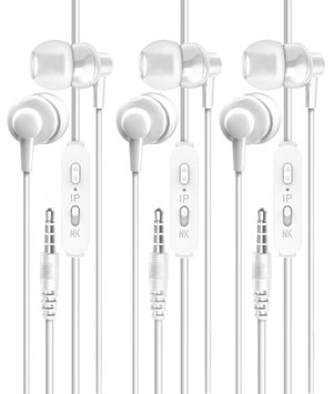 FosPower In-Ear Headphones Earbuds 3 Pack, Ergonomic Noise Isolation Headset with Microphone, 3.5mm TRRS Plug - White