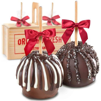 Milk & Dark Decadence Chocolate Dipped Caramel Apples In Wooden Gift Crate for Mother's Day [Standard Shipper]