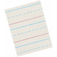 School Smart Red / Blue Ruled Newsprint - LW 1/2 Ruling - 1/4 Dash - Gr 2-3 - 10 1/2 x 8 - 500 shts