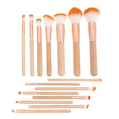 15pcs Flat Head Powder Makeup Brushes Kit Eyeshadow Brush Set Cosmetic Tool