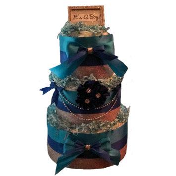 Kutie Patooties Diaper Cakes & More Kutie Patooties Blue & Silver Baby Boy 3 Tier Diaper Cake