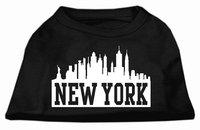 Mirage Pet Products 5181 MDBK New York Skyline Screen Print Shirt Black Med 12