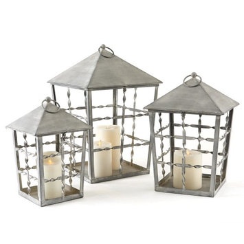 Cc Home Furnishings Set of 3 Aged Gray Metal and Glass Decorative Pillar Candle Lanterns
