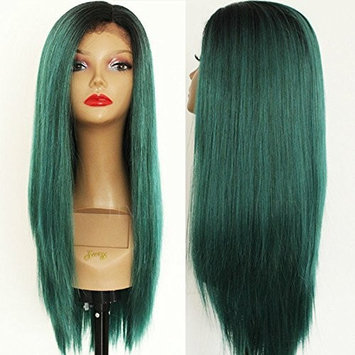 PlatinumHair Synthetic Lace Front Wigs Dark Roots to Green Ombre Straight Wigs Heat Resistant Glueless for Women Synthetic Wigs 18-24