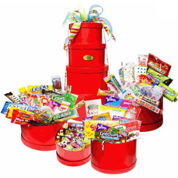 Candy Crate Mega Holiday Nostalgic Candy Gift Tower, Red