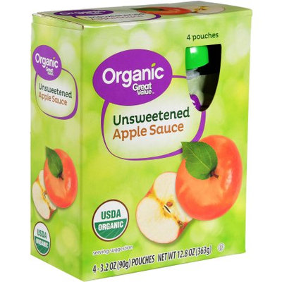 Wal-mart Stores, Inc. Great Value Organic Unsweetened Applesauce, 3.2 oz, 4 pack