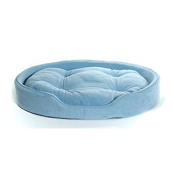 Furhaven Pet Dog Bed | Terry & Suede Snuggle Oval Pet Bed for Dogs & Cats, Blue, Jumbo
