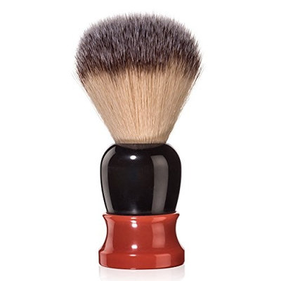 Fine Accoutrements Classic Shaving Brush with Synthetic Angel Hair Fibers, Solid Lathe Turned Resin Handle, Orange and Brown