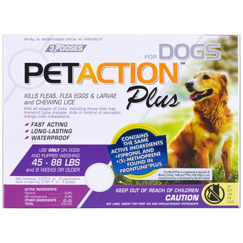 PetAction Plus Flea and Tick Treatment for Large Dogs, 3 Doses