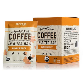 Javazen Pumpkin Spice Brew Bags | Organic Ground Coffee With Tulsi Tea & Turmeric for Energy + Focus, Ayurvedic Herbs, Low Acid, Non-GMO, Vegan, Paleo, Gluten Free, In Compostable Tea Bags (10 count)