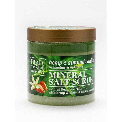 Hemp & Almond Vanilla Mineral Salt Scrub w/Natural Dead Sea Salts for tightening and firming