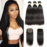 VTAOZI Brazilian Virgin Straight Hair 3 Bundles with Lace Closure 100% Unprocessed Remy Human Hair Weft Extensions Natural Color (20 22 24 with 18 Free Part)