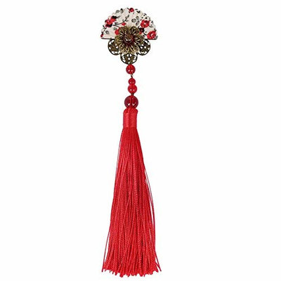 Chinese Style Sector Hair Clips With Tassels Vintage Hair Pins Accessories for Women Red