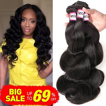 Bestsojoy Brazilian Body Wave Hair Weft Extensions 8A Brazilian Virgin Human Hair Weave 3 Bundles Deal Natural Color (18 18 18)