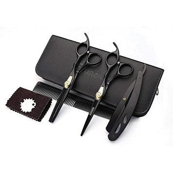 6 inch black hairdressing scissors set, cutting scissors, thinning scissors, razor, black case