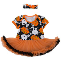 StylesILove Infant Baby Girl Halloween Short Sleeve Cotton Romper Tutu Party Dress and Headband 2 pcs Outfit Set (XL/12-18 Months, Multi) [baby_clothing_size: baby_clothing_size-xl/12-18months]