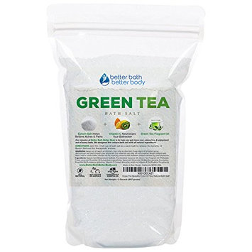 Green Tea Bath Salt 32oz (2-Lbs) Epsom Salt With Green Tea Fragrant Oil Plus Vitamin C Crystals - Enjoy This Relaxing Aromatherapy Bath Soak