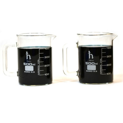 Eisco Beaker Mugs, Laboratory Borosilicate, 16.9oz (500mL) Capacity - Pk of 2 Mugs
