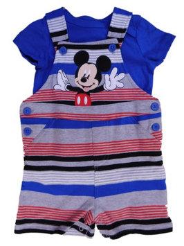 Disney Infant Boys Gray & Blue Mickey Mouse Shortall Shorts & T-Shirt Outfit NB